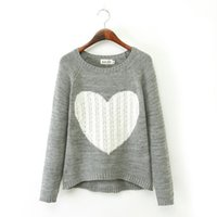 az standards - 2016 Fashion Women Coat Big Love Heart Sweater Pullovers lady Casual Knitted Coat two Colors az