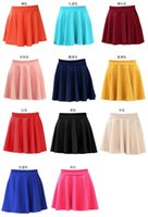 plain jersey - Fashion Women s Candy Color Stretch Waist Pleated skirt Jersey Plain Skater Flared Mini Skirts