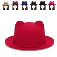 Wholesale 2016 Felt Top Hat Brim Cat Ear Cap for Women Sombrero Jazz Derby Black Bow Fedora Ladies Church Hats and Caps Girl Bonnet MZ0670