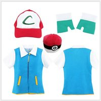 ash pokemon gloves - 2016 Hot Halloween Costumes Poke Go High Quality Blue Cosplay Costume Jacket Gloves Hat Ash Ketchum Costume for Male Female Set