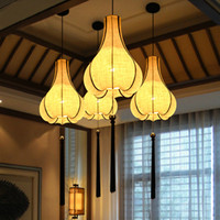 antique hand lantern - Simple modern new Chinese style antique chandelier round linen hand painting lantern hotel restaurant dining room bedroom lamps