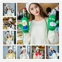 Wholesale Cartoon Gloves winter Japanese Harajuku Childlike Printing A sweet girl lovely Warm Student Fleece Thick Gloves