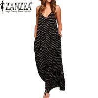 Wholesale Summer Dress Fashion Women Polka Dot Casual Loose Long Maxi Dress Sexy Beachwear Sleeveless Backless Vestidos Plus Size