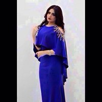Wholesale Royal Blue Plus Size Evening Dresses Modern Prom Dresses With Capes Gold Sequins Appliques Sheath Floor Length Saudi Arabic Vestidos