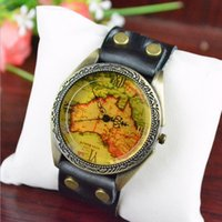 antique maps europe - 2016 Hot Men And Women In Europe And America Popular Watches Retro Belt Bracelet Watches Student Casual Watches map Watches