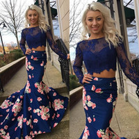 Wholesale Navy Printed Flower Two Pieces Prom Dresses Long Sheer Jewel Neck k16 Backless Formal Gowns Sleeves Mermaid Evening Party Dress For Women