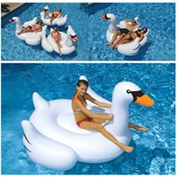 Wholesale 1 M PVC White Swan Swimming Float New Giant Swan Inflatable Floats Swimming Ring Raft Swimming Pool Floating Toys Swan And Flamingo