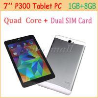 7 '' IPS Tablet PC LCD P300 1280 * 800 px Quad Core Double Carte SIM slot phablet 8Go + 1 Go Ultra-mince Tablet Pour Android 4.4