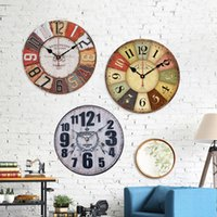 Wholesale Europe rural Vintage Wooden Wall Clock large decorative silent clocks watch Antique Style home decor birthday gift