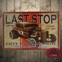 auto repair shop sign - Last Stop Hot Rod Repair TIN SIGN vtg Auto Shop Metal Garage Wall Decor B