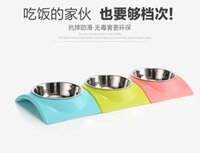 Wholesale Stainless Steel Non Slip Pet Dog Arch shaped Bowl Puppy Cat Food Drink Water Dish Diner Feeder Size Color Random