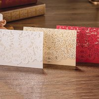 Wholesale Laser Cut Design Floral Embossing Elegant Wedding Invitations Pocket Fold Printable Blank Cards Convite to casamento