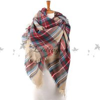acrylic scarf soft - women fashion Plaid Scarf Warm Soft Winter Blanket Scarf Oversized Tartan Scarf women Shawl Scarf M219