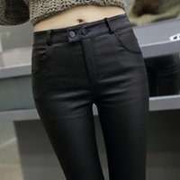 Wholesale M XL2016 Fashion Women Leather Pants Spring and Autumn High Waist Stretch PU Pencil Pants Black Trousers Female Plus Size