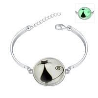 bangle cats - Noctilucous Seris Cute Animals Cat Silver Plated Charm Bracelet Bangle Wristbands Unisex Fashion Jewelry