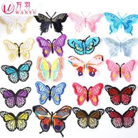 hand embroidered garments - Iron On Patches Parches Ropa Feather Color Butterfly Embroidery Cloth To Patch The Clothes Hand Diy Decorative Garment Ac