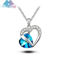 australian crystal necklace - 2016 New Full Crystal Love Heart Necklaces Fashion jewelry Australian Imported Crystal Jewelry heart to heart MLY4232