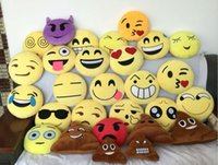 Wholesale Emoji Pillows skins diameter cm cm cm cm cm cm cm cm cm cm CE Cushion Cute cartoon Yellow Plush Toy Gifts