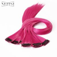 extensions de cheveux 18 pouces achat en gros de-Neitsi 18inch 10pcs / lot Rose # (F09 #) ± 80g Straight Synthetic Single Clip in / on Hair Pieces Synthétique Clips Hair Cosplay Highlight Extensions