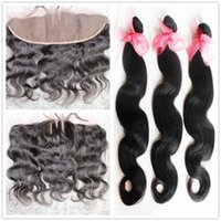 Wholesale lace frontal With Bundles hair extension three part with baby hair Malaysian high quality hair weaves cheap price