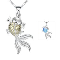 best goldfish - Best Gift Goldfish Glowing Luminous pendant necklace European Style Silver Plated Chain Hot sale