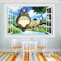 art animated - Japanese Animated cartoon totoro D wall stickers kindergarten children bedroom wall mural decorative waterproof PVC stickers