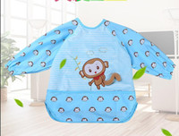 Wholesale Autumn and winter to eat baby bib apron long sleeved gown nursing waterproof anti clothing breathable Velvet crystal children overclothes