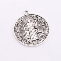 Wholesale 40pcs x31mm Antique Silver Saint St Benedict of Nursia Patron Against Evil Cross Medal Charm Pendant L1646