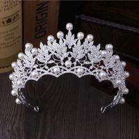 ball crown - Korean large pearl crown high grade super flash diamond tiara bride marriage yarn dress accessories jewelry crown