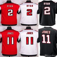 Wholesale Best NIK Football Elite Matt Ryan Julio Jones Jersey Embroidery Logos Black Red Top Quality Jerseys