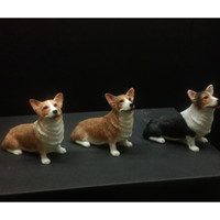 antique dog figurines - Welsh Corgi Pembroke Simulation Dog Figurine Crafts Real Looking Dog Toy Antique Decoration Figurine Crafts with Resin for Car Decoration
