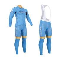 astana long sleeve - New Team Astana Long Sleeve Winter Cycling Clothing Thermal Fleece Bike Clothing Sport Wear Inviero Maillot Pants Set