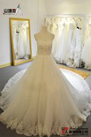 Wholesale Sweetheart lovely strapless ivory white will bind with the bride wedding dress big trailing