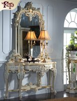 antique gold mirror wood - French rococ style villa furniture soild wood gold foil leaf gilding console table and mirror