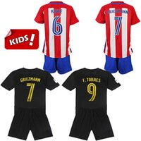 atletico madrid youth - 2016 Kids Kit Atletico Madrid Soccer Jerseys Red Black Fernando Torres Koke Gabi Jackson Griezmann Youth Soccer Uniform Football Jersey