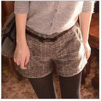 bamboo grid - 2016 Autumn And Winter High Waist Casual Shorts Female Grid lines Bootcut Short Pants No Belt