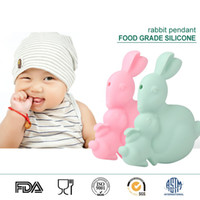 Beaded Necklaces baby rabbits food - Baby Teethers Toy Bunny Silicone Pendant Food Grade Silicone Sensory Beads Rabbit Silicone Teething Pendant Necklace