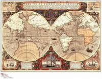 Cheap About retro Vintage world Map canvas oil painting cuadros decor wall art craft wallpaper pictures for living room GBHL041