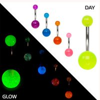 Wholesale Belly Button Mix Color mm Double Ball Acrylic Belly Rings Glow In Dark Navel Bar Ring Lip Piercing Tongue Piercings Jewelry