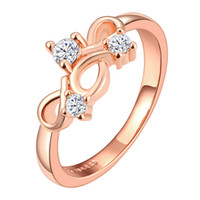 Wholesale Hot Sale Women Exquisite Ring Rose Gold Are the Hollow Geometry Of Zircon Elegant Jewelry Accessories Elegant Fashion
