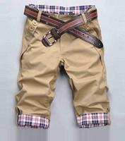 Wholesale New Mens Hip Hop Sweat Pants short jeans Trousers S XXXL Men Sport Pantalones Pants Man Trousers lace up Capris