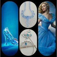 baby magic girls - Cinderella Accessories Crown Magic Wand Necklace Baby Girls Xmas Sets Rhinestones Crown Butterfly Wand High Heels Necklace CCA5230 set