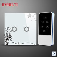 Wholesale 2Gang1Way EU Standard Lights Lamps Remote Wall Switch Touch Glass Panel LED Smart home Automation Crystal Tempered Glass Panel