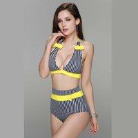 bandeau tankini bathing suits - 2016 New Fashion High Waist Striped Women s Sexy Push Up Bikini Free Ship Tankini Padded Bra Bandeau Swimwear Ladies Swimsuits Bathing Suits