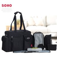 baby travel sets - 8 Set Large Capacity Black Travel Baby Diaper Bags Waterproof Nappy Bags Multifunctional Changing Messenger Bag Tote Bags