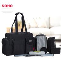 Wholesale 8 Set Large Capacity Black Travel Baby Diaper Bags Waterproof Nappy Bags Multifunctional Changing Messenger Bag Tote Bags