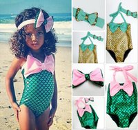 Wholesale 2016 Hot Sale Baby Girls the Little Mermaid Bikini Set Mermaid Swimwear Swimsuit Bathing Suit Y suit Bowknot Bikini Suit D611 set