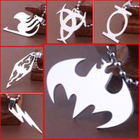 batman pendants - 17 types Titanium steel superhero X man Transformers punisher batman pendants necklace for women men Marvel Movies jewelry gift