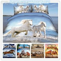 bedding with horses - pc brand new horse reactive printing bed duvet cover bedding sets for queen with bed sheet comforter bedclothes bed in a bag