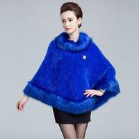 Wholesale 2016 women Long knitting Cardigan shawl Coat cloak Autumn amp Winter New Europe Faux Raccoon Fur Collar cape Wool Sweater pluvial